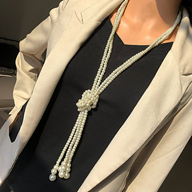 cheap Pearl Necklaces-Women's Beaded Necklace Long Necklace Stacking Stackable Friends Precious Classic Punk Trendy Ethnic Imitation Pearl Chrome White 120 cm Necklace Jewelry 2pcs For Gift Street Birthday Party Beach