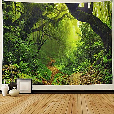 cheap Landscape Tapestries-misty forest tapestry magical nature green tree wall tapestry rainforest landscape tapestry wall hanging bohemian psychedelic tapestry for bedroom living room dorm