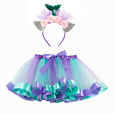 cheap Baby & Kids-Kids Girls' Mermaid Tail Color Block Bow Patchwork Skirt Blue