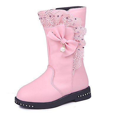 cheap New Arrivals-Girls' Boots Comfort / Snow Boots / Princess Shoes Patent Leather / Synthetics Snow Boots Little Kids(4-7ys) / Big Kids(7years +) Walking Shoes Bowknot / Pearl / Ruffles Wine / Black / Red Fall