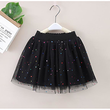cheap Baby & Kids-Kids Girls' Basic Black White Solid Colored Layered Skirt White