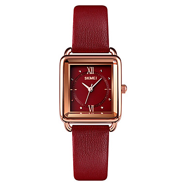 cheap Square & Rectangular Watches-SKMEI Women's Quartz Watches Quartz Formal Style Modern Style Elegant Water Resistant / Waterproof Genuine Leather Black / Red / Brown Analog - Black Purple Red One Year Battery Life