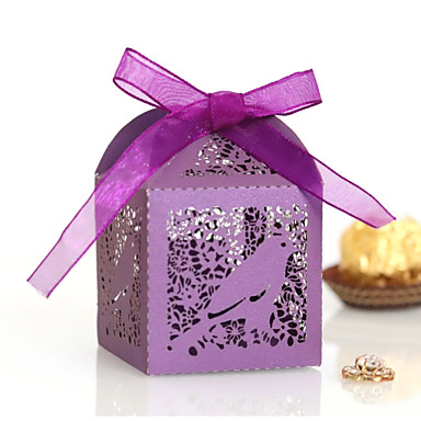 cheap Gifts & Decorations-Cubic Pearl Paper Favor Holder with Ribbons Favor Boxes - 50