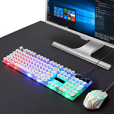 cheap Mice & Keyboards-Punk Keyboard and Mouse Kit for Gaming Office Rainbow Backlit Keyboard for PC Laptop