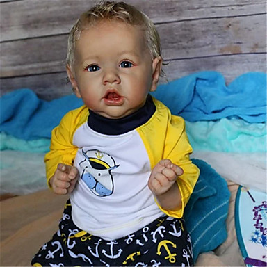 cheap Reborn Doll-22 inch Reborn Doll Baby & Toddler Toy Baby Boy Reborn Baby Doll Saskia lifelike Hand Made Simulation Hand Applied Eyelashes Floppy Head Cloth Silicone Vinyl with Clothes and Accessories for Girls