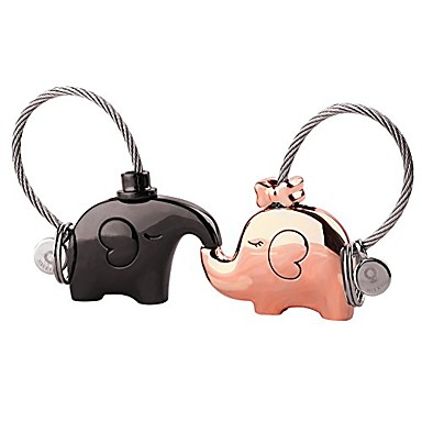 cheap Keychains-custom personalized kissing elephant couples keychains birthday anniversary gifts cute charm set couple gift(blackgold)