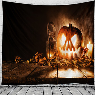cheap Wall Tapestries-Halloween Wall Tapestry Art Decor Blanket Curtain Picnic Tablecloth Hanging Home Bedroom Living Room Dorm Decoration Polyester Psychedelic Skull Skeleton Pumpkin Haunted Scary