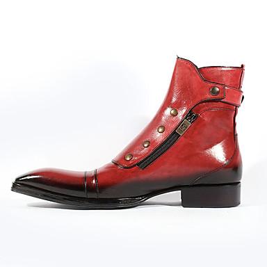 billige Herresko-Herre Støvler Demonia støvler Arbejdsstøvler Daglig PU Sort / Rød / Blå Efterår / Vinter / Nitte