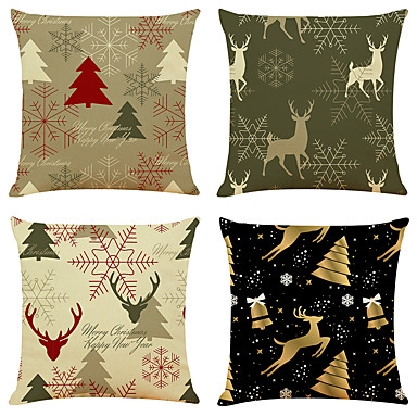 cheap Decorative Pillows-1 Set of 4 pcs Christmas Series Decorative Linen Throw Pillow Cover 18 x 18 inches 45 x 45 cm