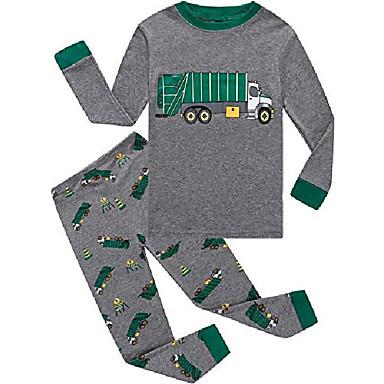 cheap Boys' Clothing-little boys pajamas garbage truck 100% cotton long sleeve toddler pjs toddler clothes kids sleepwear size 5 gray
