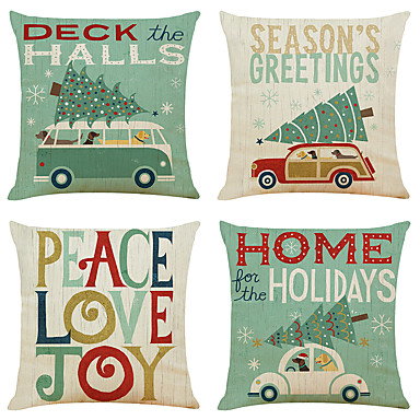cheap Throw Pillow Covers-Set of 4 Christmas holiday Linen Square Decorative Throw Pillow Cases Sofa Cushion Covers 18x18