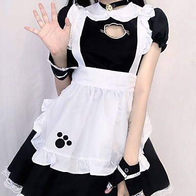 cheap Halloween Props-Maid Costume Movie / TV Theme Costumes Uniforms Cosplay Costume Costume Adults' Women's Cosplay Lolita Cute Halloween Daily Homecoming Christmas Halloween Masquerade Festival / Holiday Polyester Black