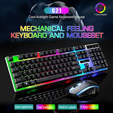 cheap Mice & Keyboards-LITBest G21 USB Wired Mouse Keyboard Combo Mouse and Keyboard Suit with Rainbow Backlight LED Lights Gaming Mouse Office Mouse Ergonomic Mouse 1200 DPI