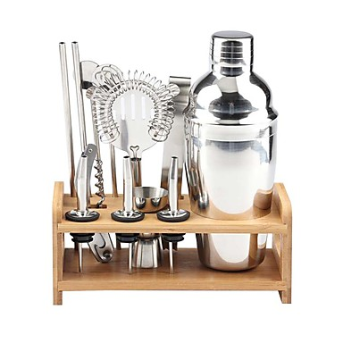 cheap Kitchen & Dining-Insulated Cocktail Shaker Mixer Bartender Kit Cocktail Shaker Mixer Stainless Steel 550ml Bar Tool Set with Stylish Bamboo Stand Perfect Home Bartending Kit and Martini Cocktail Shaker Set