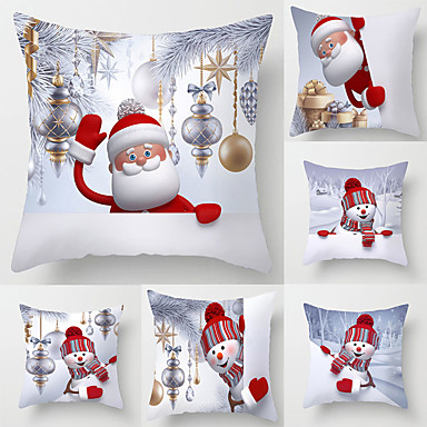 cheap Decorative Pillows-1 Set of 6 pcs Christmas Series Decorative Linen Throw Pillow Cover for Christmas Gift Home Decoration,18 x 18 inches 45 x 45 cm