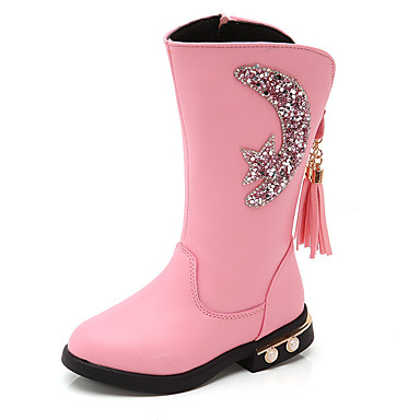 cheap New Arrivals-Girls' Boots Princess Shoes PU Little Kids(4-7ys) / Big Kids(7years +) Walking Shoes Black / Red / Pink Fall / Winter / Knee High Boots