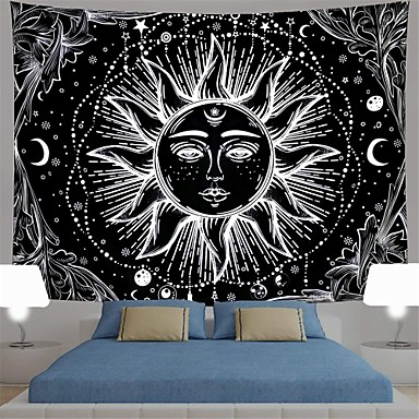 cheap Wall Tapestries-sun and moon tapestry black and white burning sun with stars tapestry psychedelic tapestry indian tapestry for room