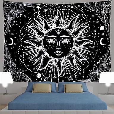 abordables Tapices de pared-tapiz de sol y luna blanco y negro sol ardiente con estrellas tapiz tapiz psicodélico tapiz indio para habitación