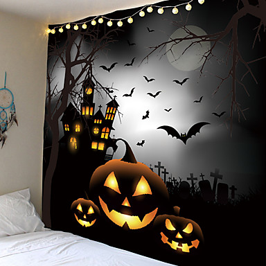 cheap Wall Tapestries-Halloween Party Wall Tapestry Art Decor Blanket Curtain Picnic Tablecloth Hanging Home Bedroom Living Room Dorm Decoration Pychedelic kull keleton Pumpkin Bat Witch Haunted cary Catle Polyeter