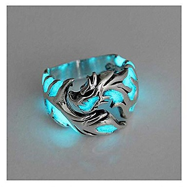 cheap Men's Jewelry-womens mens ring 1pc women and men allergy free glow in the dark luminous dragon ring party gifts silver blue green 11