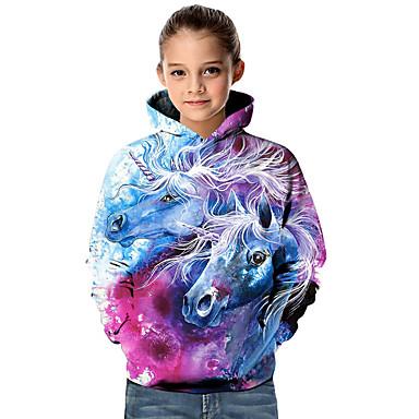 billige Baby & børn-Børn Baby Pige Aktiv Basale Unicorn Geometrisk 3D Dyr Trykt mønster Langærmet Hættetrøje og sweatshirt Lilla