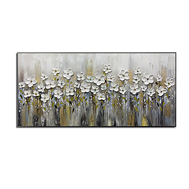 cheap Oil Paintings-Oil Painting Hand Painted - Abstract Floral / Botanical Comtemporary Modern Rolled Canvas (No Frame)