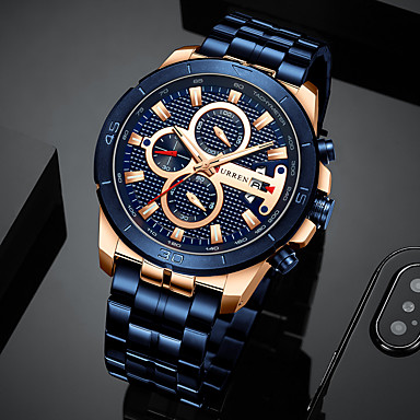 billige Luksusklokker-herre luksuriøse klokker virksomhet kronograf kjole vanntett rustfritt stål analog kvarts armbåndsur (svart)