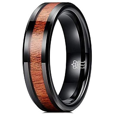 olcso Férfi ékszerek-6 mm-es volfrám jegygyűrű koa fa berakással fekete lapos esküvői zenekar eljegyzési gyűrű kényelmi illeszkedés 11.5 méret