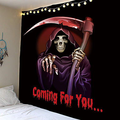 cheap Wall Tapestries-Halloween Party Holiday Wall Tapestry Art Decor Blanket Curtain Picnic Tablecloth Hanging Home Bedroom Living Room Dorm Decoration Psychedelic Skull Skeleton Grim Reaper Haunted Scary Polyester