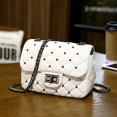 cheap Crossbody Bags-Women's Bags PU Leather / Polyester Crossbody Bag Chain for Daily / Holiday White / Black