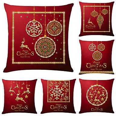 cheap Decorative Pillows-1 Set of 6 pcs Christmas Series Decorative Linen Throw Pillow Cover 18 x 18 inches 45 x 45cm For Home Decoration Christmas Decoration