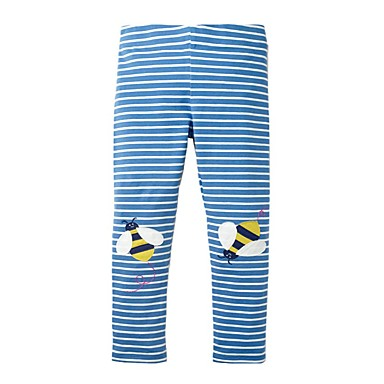 Baby & Kids-Kids Girls' Basic Blue Striped Print Leggings Blue