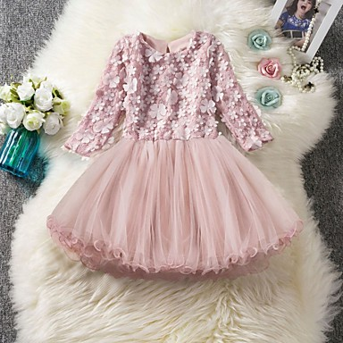 cheap Baby & Kids-Kids Girls' Cute Solid Colored Lace 3/4 Length Sleeve Knee-length Dress Blushing Pink