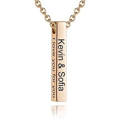 billige Tilpassede smykker-personlig tilpasset Halskjede Titanium Stål Bokstaver Daglig Geometrisk Form 1pcs Gull Sølv / Laser gravering