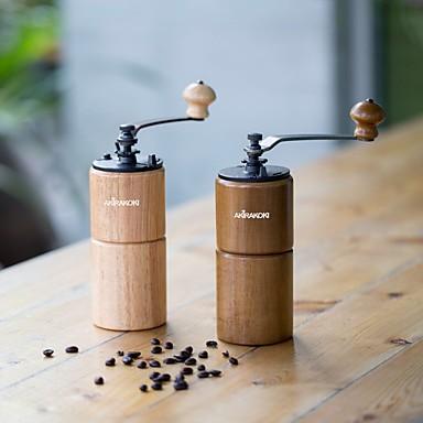 billige Kjøkken og matlaging-manuell kaffebønne kvern treverk med støpejern burr stor kapasitet håndsveiv bærbar reise camping justerbar brun tre