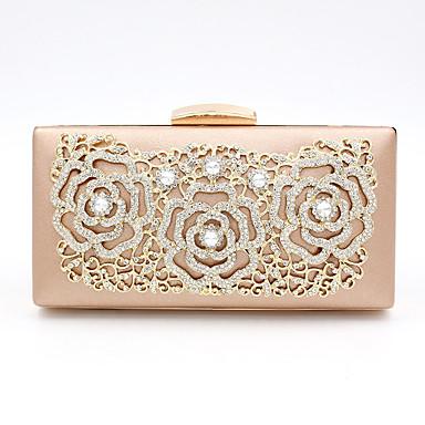 billige Clutch- og aftentasker-Dame Tasker polyester / Legering Aftentaske Krystaldetaljering Blomst for Bryllup / Fest Champagne