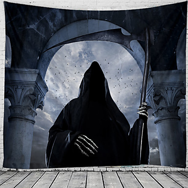 cheap Wall Tapestries-Halloween Wall Tapestry Art Decor Blanket Curtain Picnic Tablecloth Hanging Home Bedroom Living Room Dorm Decoration Psychedelic Skull Skeleton Witch Haunted Scary Castle Polyester