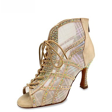 cheap New Arrivals-Women's Latin Shoes Boots Slim High Heel Suede Crystal / Rhinestone Black / Almond / Silver
