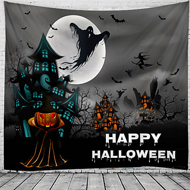cheap Wall Tapestries-Halloween Wall Tapestry Art Decor Blanket Curtain Picnic Tablecloth Hanging Home Bedroom Living Room Dorm Decoration Psychedelic Skull Skeleton Pumpkin Bat Witch Haunted Scary Castle Polyester