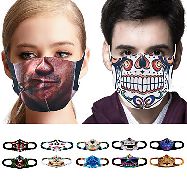 abordables Protection personnelle-10 pcs Couvre-visage Masque Visage Anti-Poussière Casual Tricot Quotidien Anti-Poussière Halloween Spoof Squelette Impression 3D