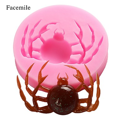 cheap Spooky Kitchen-Halloween Party 2pcs Halloween Fondant Silicone Mold Chocolate Mold Spider Fondant Mold