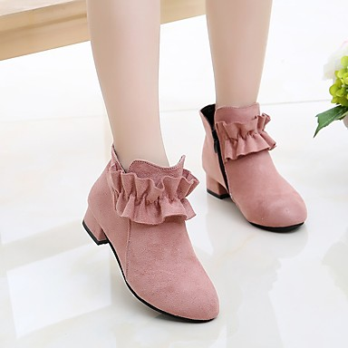 cheap New Arrivals-Girls' Boots Bootie Suede Little Kids(4-7ys) / Big Kids(7years +) Walking Shoes Stitching Lace / Ruffles Black / Red / Pink Fall / Winter / Booties / Ankle Boots