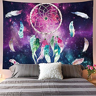 cheap Wall Tapestries-dreamcatcher tapestry colorful feather tapestry space tapestry galaxy tapestry psychedelic tapestry red green starry sky art tapestry wall hanging for home decor