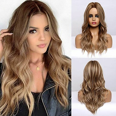 cheap Synthetic Trendy Wigs-Synthetic Wig Curly Body Wave Middle Part Side Part Wig Very Long Brown Synthetic Hair 24 inch Women's Cosplay Fashion Middle Part Brown BLONDE UNICORN / African American Wig