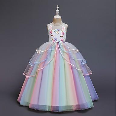 Χαμηλού Κόστους Παιδιά & παιδιά-Παιδιά Κοριτσίστικα Γλυκός Συνδυασμός Χρωμάτων Πολυεπίπεδο Αμάνικο Μακρύ Φόρεμα Λευκό