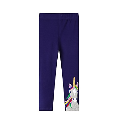 Baby & Kids-Kids Girls' Basic Horse Solid Colored Print Leggings Blue