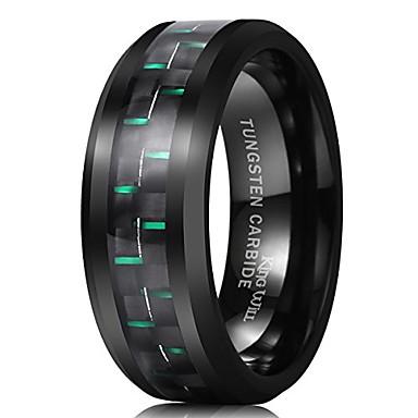 olcso Férfi ékszerek-úriember 8 mm-es fekete volfrám-karbid gyűrű zöld szénszálas csiszolt kivitel kényelem illeszkedik 11,5