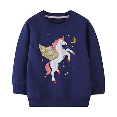 cheap Girls' Hoodies & Sweatshirts-Kids Girls' Basic Blue Animal Print Long Sleeve Hoodie & Sweatshirt Blue