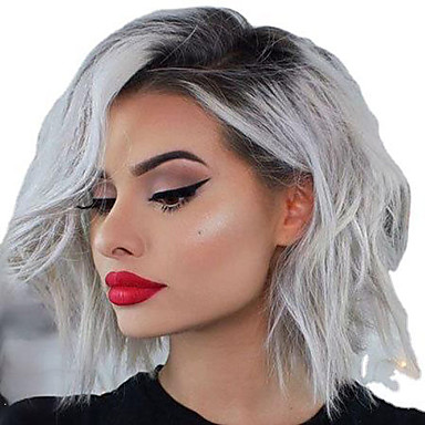 cheap Synthetic Trendy Wigs-Synthetic Wig Loose Curl Asymmetrical Wig Short Black / White Synthetic Hair 12 inch Women's Fashionable Design Cool White