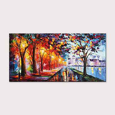cheap Oil Paintings-Oil Painting Hand Painted - Abstract Landscape Modern Rolled Canvas (No Frame)